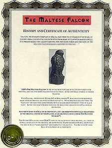 COA comes with every Haunted Studios™ Maltese Falcon