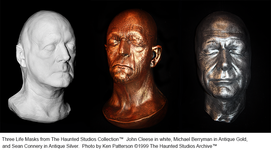 A collection of three Haunted Studios life masks