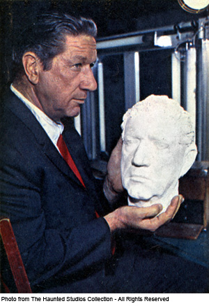 Actor Richard Boone with Life Mask