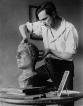 Bela Lugosi Sculpts self portrait in publicly photo
