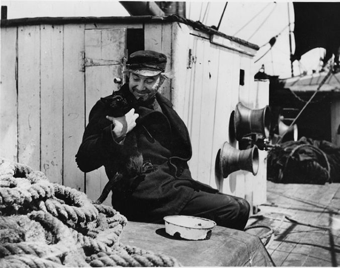 Bela Lugosi with Phantom Ship's cat photo