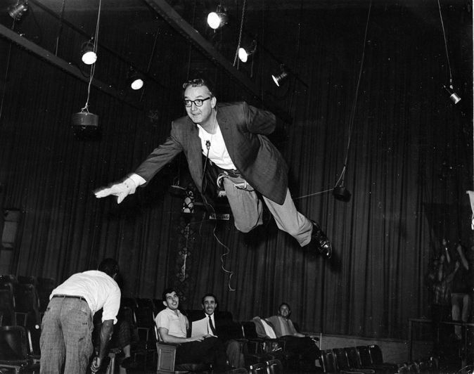 "Steve Allen testing ""Superfink"" flying rig - The Steve Allen Show"