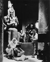 Boris Karloff on Mummy Set with Karl Freund