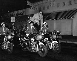Steve Allen on motorcycle at Hollywood Ranch Market - The Steve Allen Show